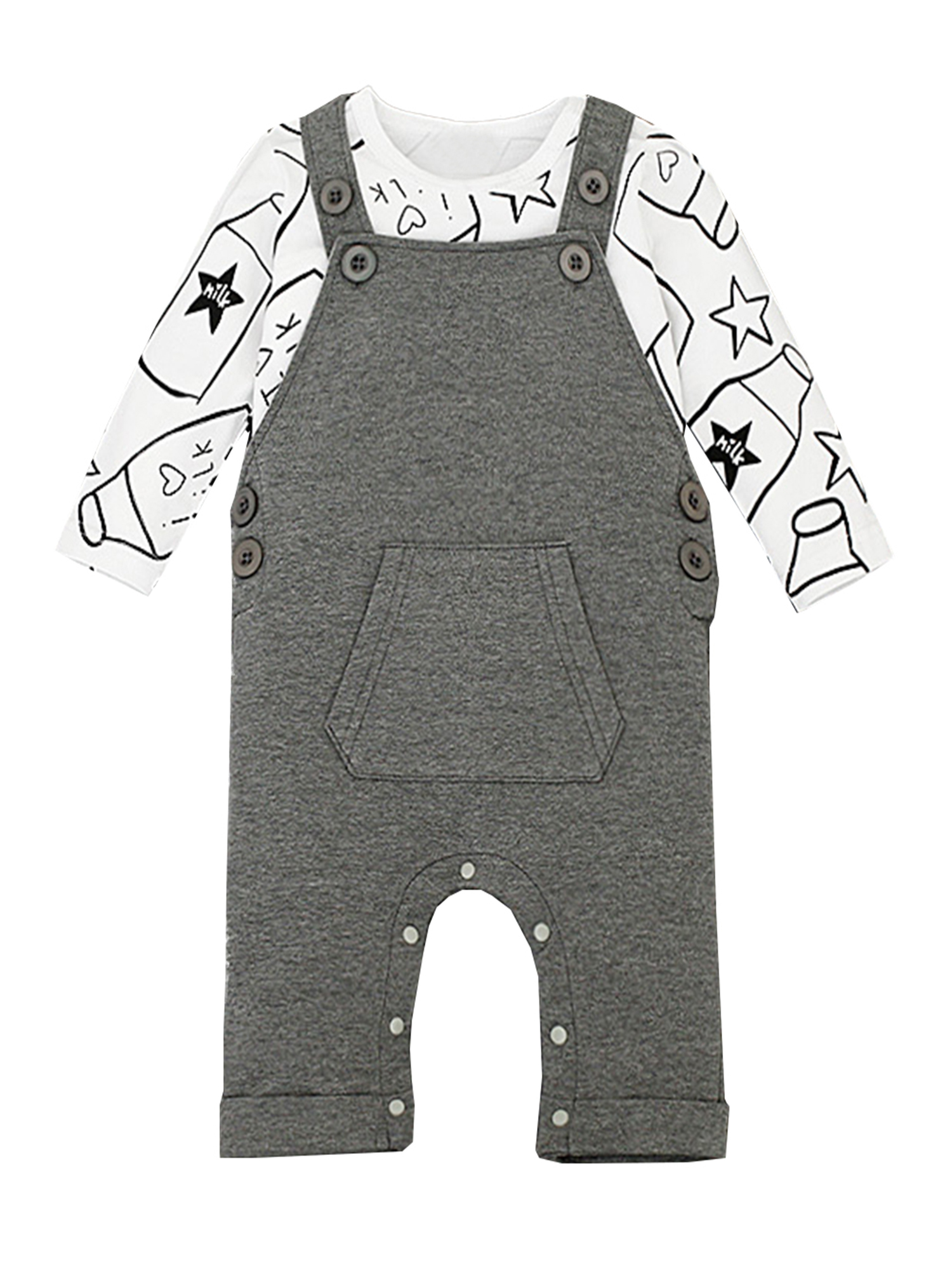StylesILove Baby Boy Chic Shirt and Lined Overalls 2-pc Clothing Set (18-24 Months, Solid Top Navy-White)