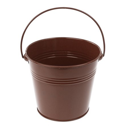 Metal Pail Buckets Party Favor, 5-inch, Brown - Colored Metal Buckets
