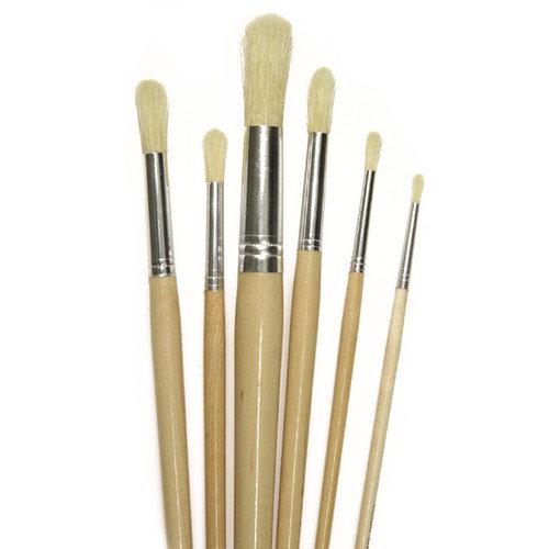 Chenille Kraft Company Round White Bristle Brush 1/4 6-set (Set of 3)