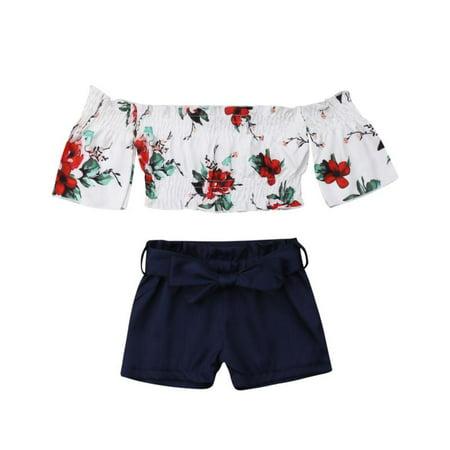 af540e6cf531 Emmababy - Toddler Kids Baby Girl Flower Off Shoulder Crop Tops Shorts  Outfits Sunsuit Clothes Set - Walmart.com