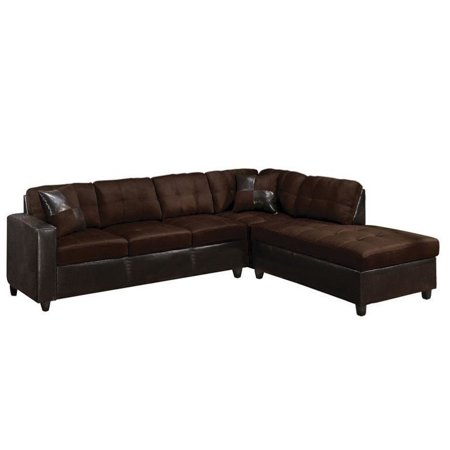 Brilliant Acme Furniture Milano Faux Leather 2 Piece Sectional Sofa In Chocolate Ncnpc Chair Design For Home Ncnpcorg