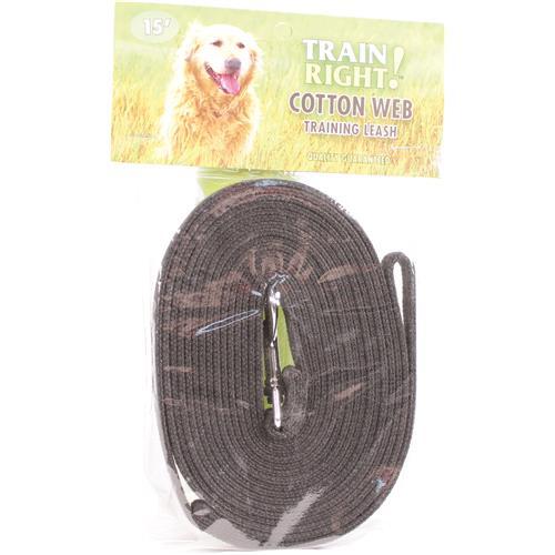 COASTAL PET PRODUCTS TRAIN RIGHT! COTTON WEB DOG TRAINING LEASH 15 FT BLACK