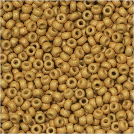 Miyuki Round Seed Beads, 11/0 Size, 8.5 Gram Tube, #4202F Duracoat Galvanized Matte Gold Miyuki Matte Tube