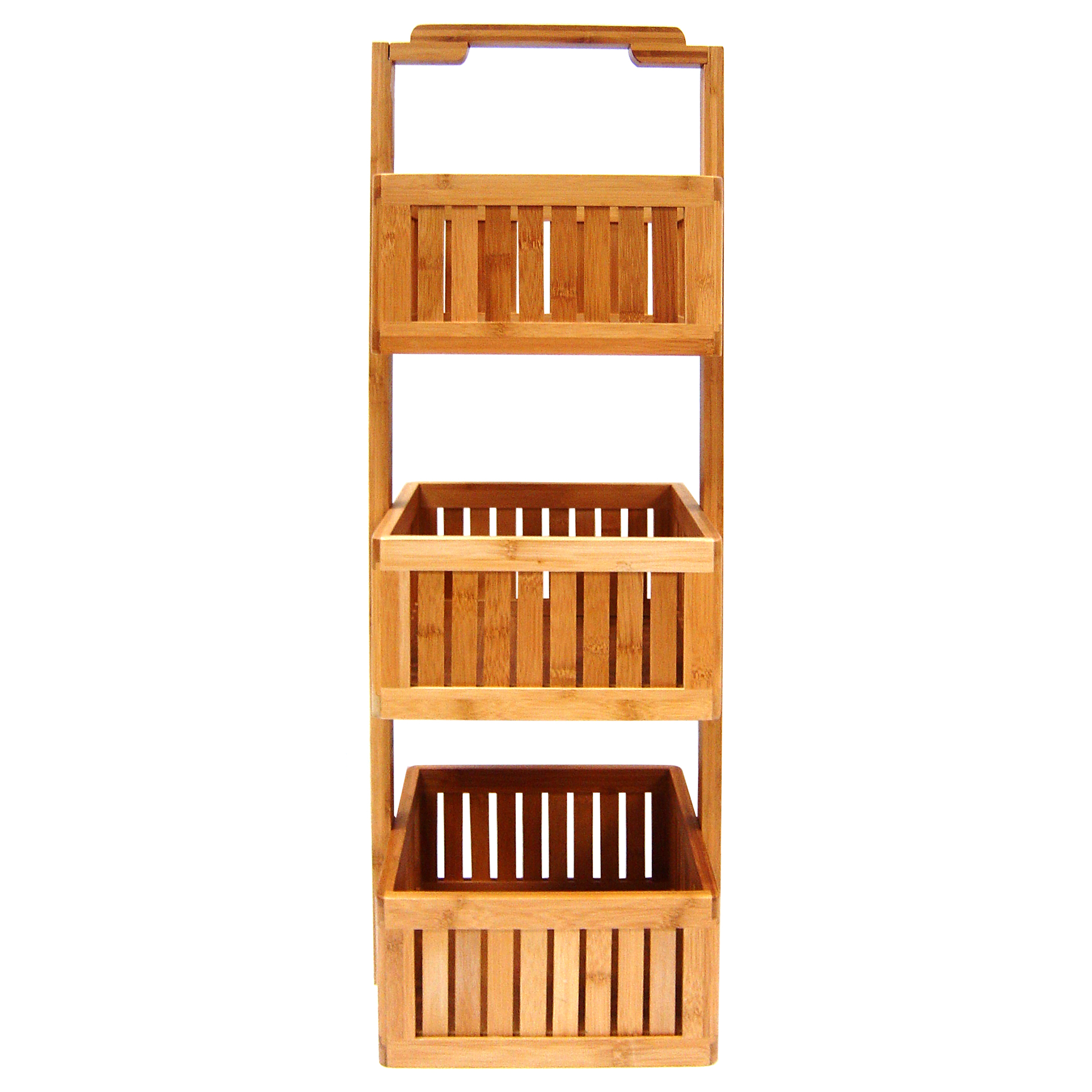 Organize It All 29948W 3 Basket Bamboo Lohas Stationary Bathroom Caddy