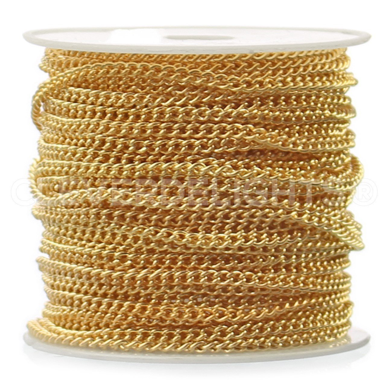 CleverDelights Curb Chain Spool - 2.2x3mm Link - Gold Color - 100 Feet