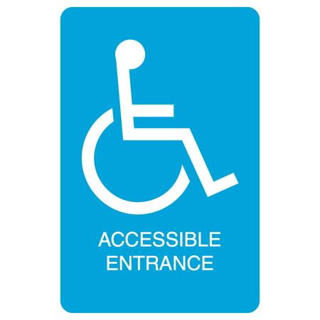 blue handicap symbol accessible entrance print parking car lot