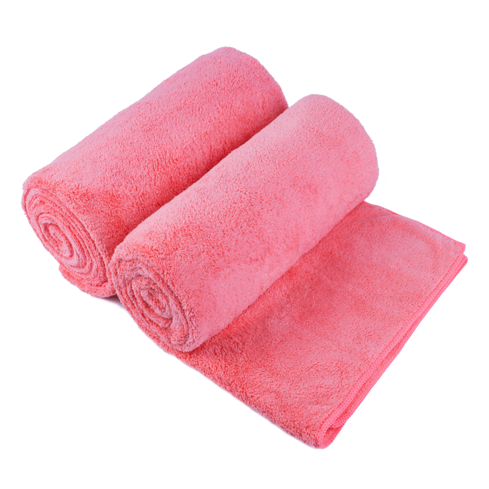 2 Piece High Density Fleece Bath Towel Set (Sunset red)