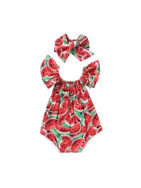 Cute Newborn Baby Girls Romper Watermelon Clothes Bodysuit Jumpasuit+Headband Outfits