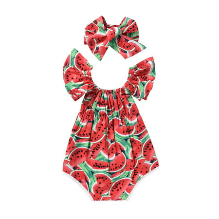 Cute Newborn Baby Girls Romper Watermelon Clothes Bodysuit Jumpasuit+Headband Outfits - Cute Baby Girl Thanksgiving Outfit