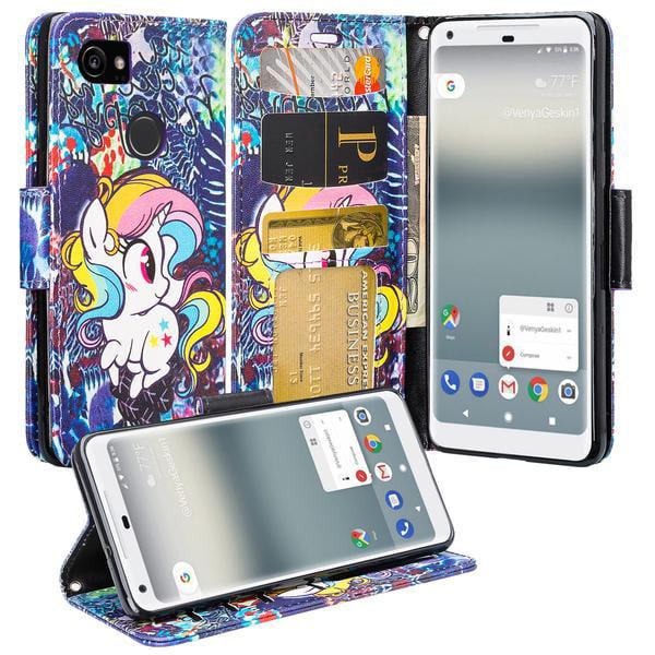 Google Pixel 2 XL Case, Pixel 2 XL Case, Slim Flip Folio [Kickstand] Pu Leather Wallet Case with ID & Card Slots & Pocket + Wrist Strap - Rainbow Unicorn