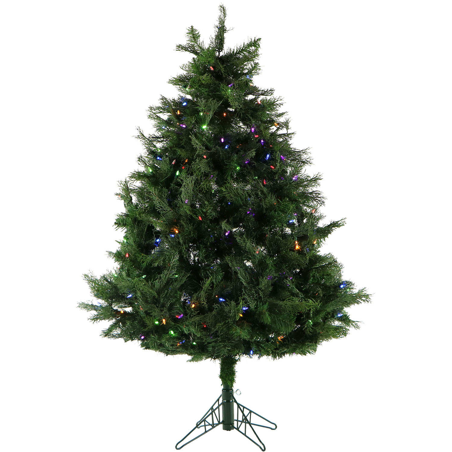 Fraser Hill Farm 5-Ft. Northern Cedar Teardrop Artificial Christmas Tree with Multi-Color LED Lights and EZ Connect