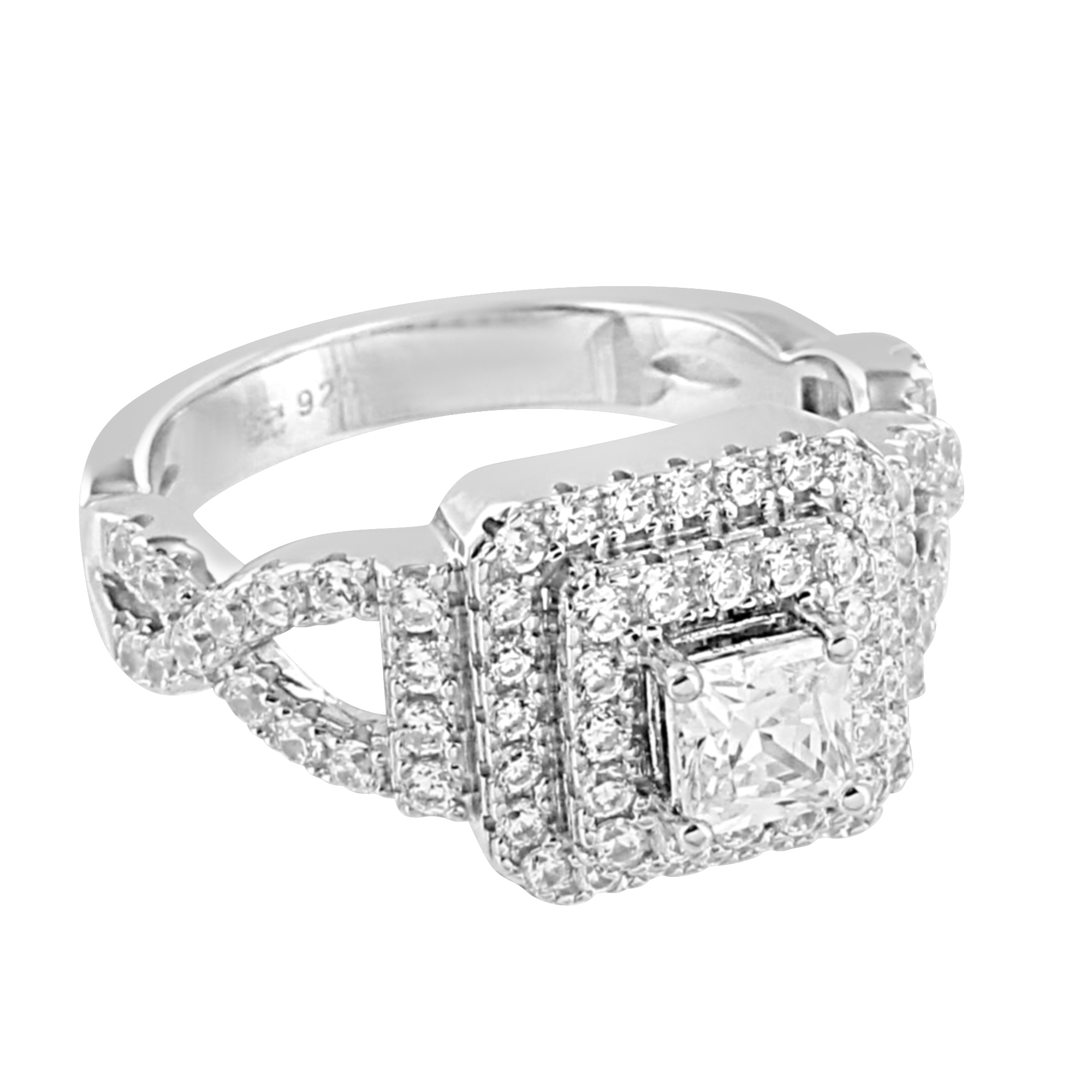 Princess Cut Solitaire Wedding Ring Engagement 925 Sterling Silver Cubic Zirconia