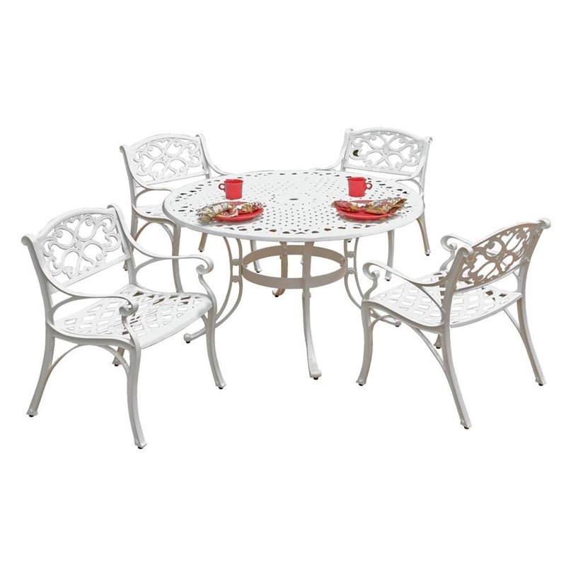 Hawthorne Collections 5 Piece Metal Patio Dining Set in W...