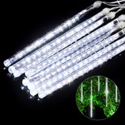 (2/1 Pack)LED Meteor Shower Lights 12 Inch 8 Tube 144 Leds Falling Rain Drop Icicle Snow Fall String LED Waterproof Lights for Holiday Xmas Tree Valentine Wedding Party Decoration