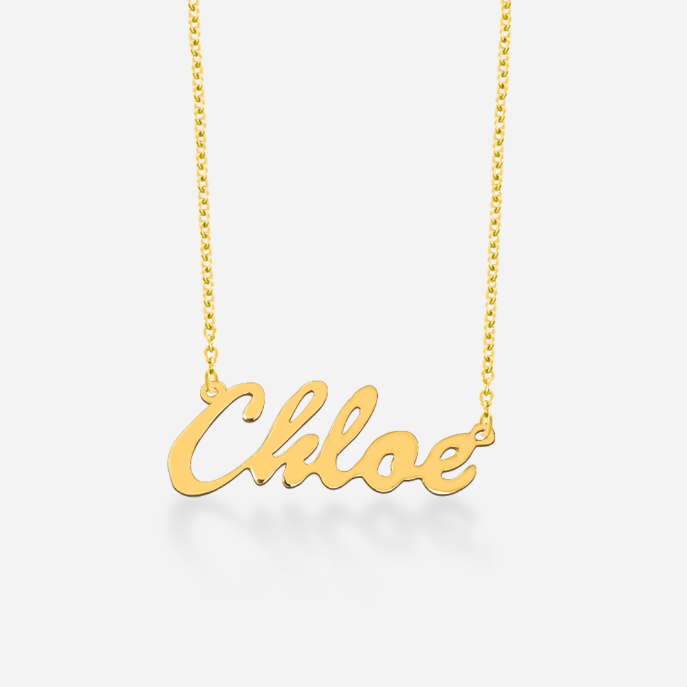 """Personalized 18kt Yellow Gold over Silver Script Name Necklace, 16"""" and 18"""" chain by MonogramOnline"""