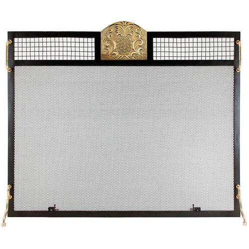 Minuteman International Pineapple Emblem Single Panel Iron Fireplace Screen by
