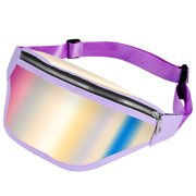 MUNDAZE HOLOGRAPHIC CROSSBODY CHEST BACKPACK WAIST BAG-PURPLE HOLOGRAPHIC