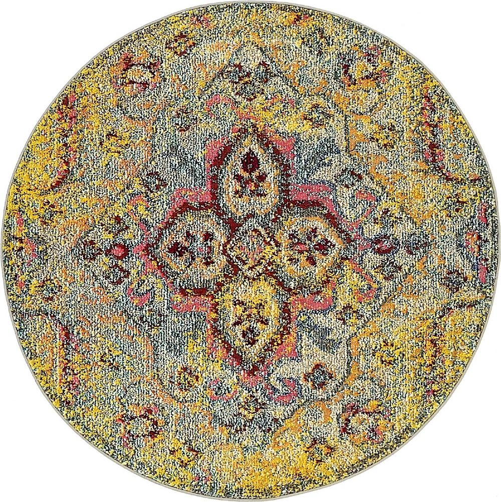 Contemporary Vida Collection Area Rug in Sunshine and Rectangle, Round, Runner Shape