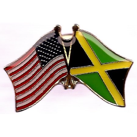 Jamaica Flag Lapel Pin - PACK of 3 Jamaica & US Crossed Double Flag Lapel Pins, Jamaican & American Friendship Pin Badge