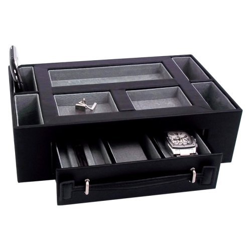 Leather Valet Box with Pen & Watch Drawer - Black Leather - 11W x 3H in.