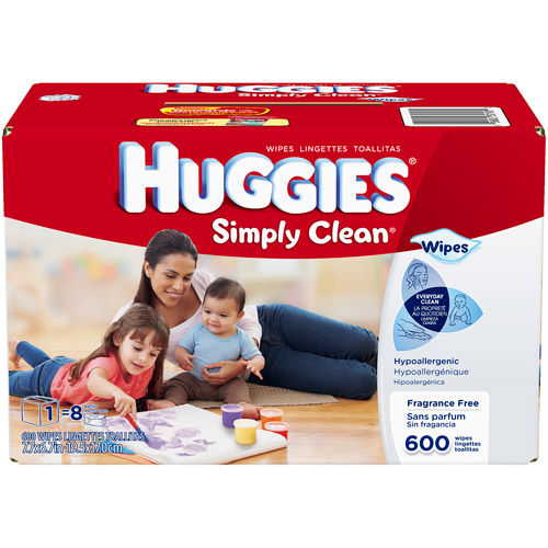 HUGGIES Simply Clean Fragrance Free Wipes Refills, 600 sheets