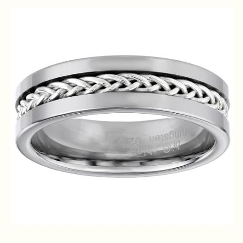BIG Jewelry Co Sterling Silver and Tungsten Ring with Braided Inlay Design