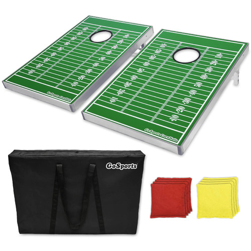 GoSports CornHole Beanbag Toss Game Set, Superior Aluminum Frame, Football Design by P&P Imports LLC