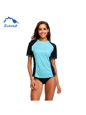 Reactionnx Women Plus Size Rash Guard Short Sleeve Rashguard Swimming Shirt Athletic Swimwear Top, Blue