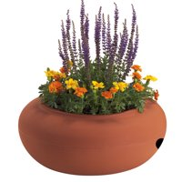 Akro Mils RZ.GH210E35 21 in Terra Cotta Colored Plastic Garden Hose Pot