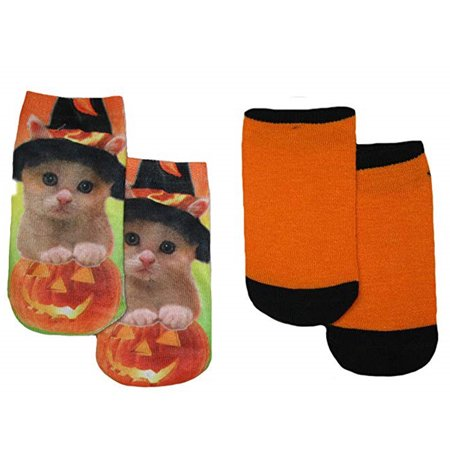 Halloween Little Girls Kitten Pumpkin Socks, 2 Pair, Sock Size: 6-8.5 - Halloween Wellington Point