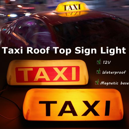 Car Truck Taxi Cab Sign Roof Dome LED Light Lamp Shell Magnetic Base 12V Yellow / White