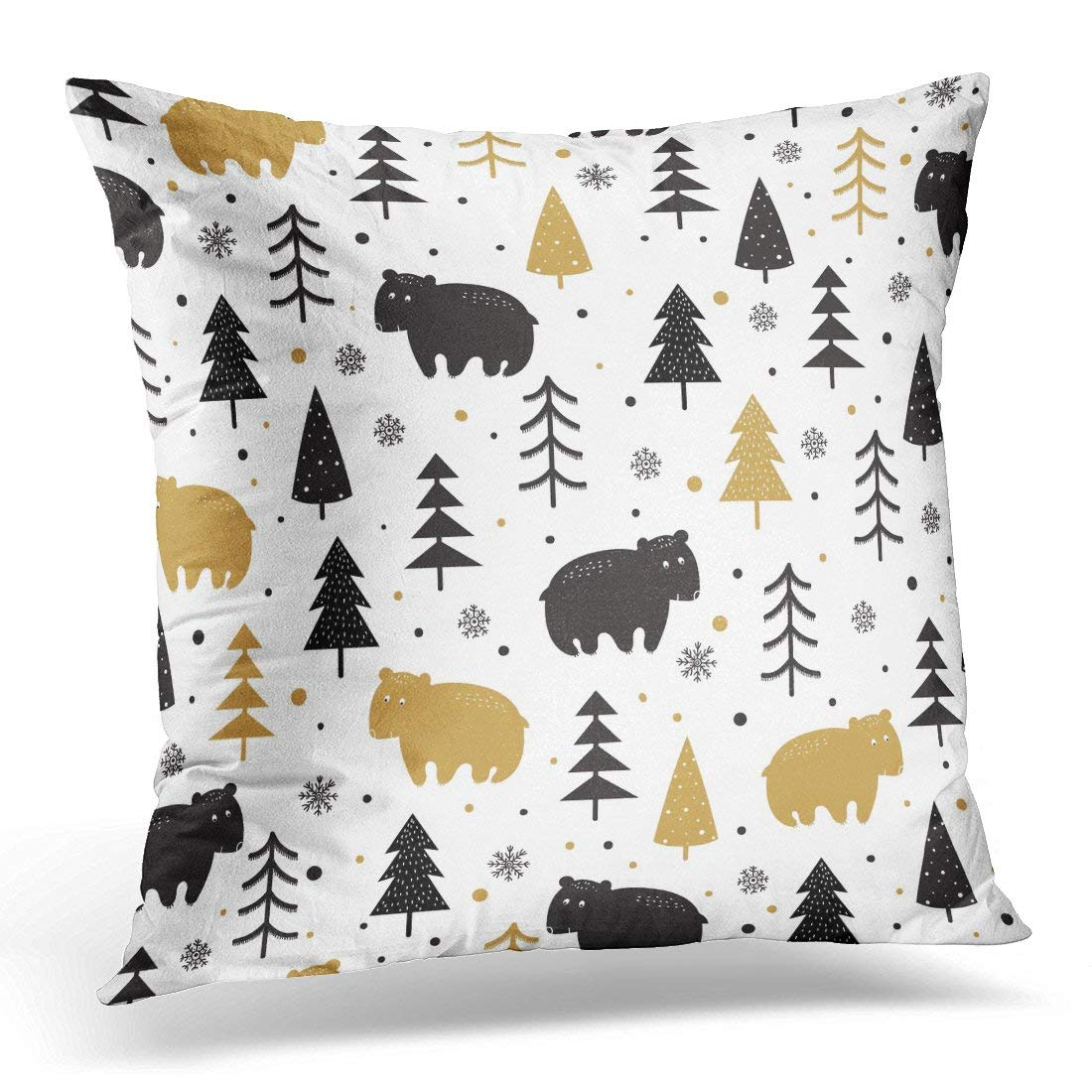 USART Cute with Bears and Trees in Black and Gold on White Scandinavian Style Animal Pillow Case Pillow Cover 20x20 inch