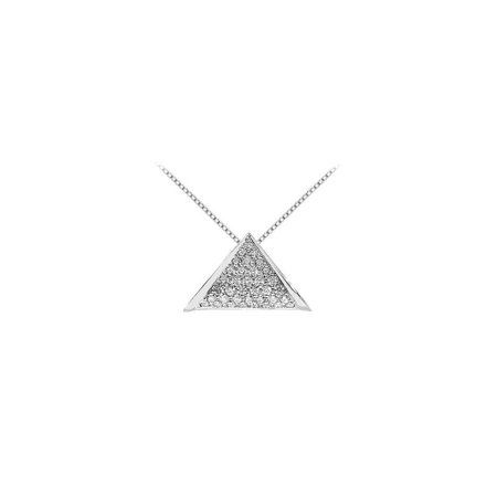 Diamond Triangle Pendant in 14K White Gold 0.75 Carat Diamonds - image 2 de 2