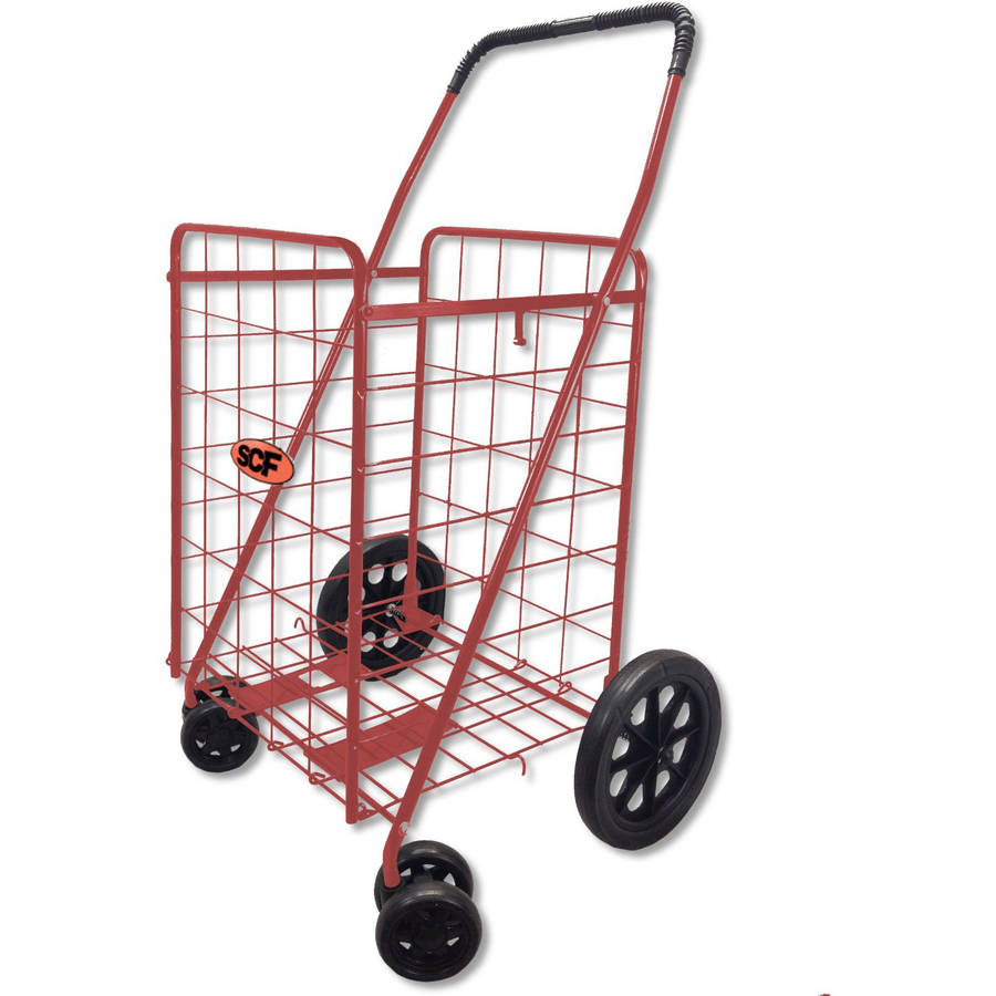 SCF Pivot Wheels Utility Cart 360 Degree Spin, Red