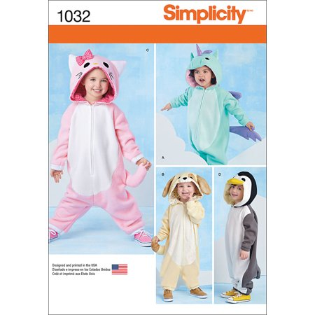 Simplicity Toddlers' Size 0.5-4 Animal Costumes Pattern, 1 Each