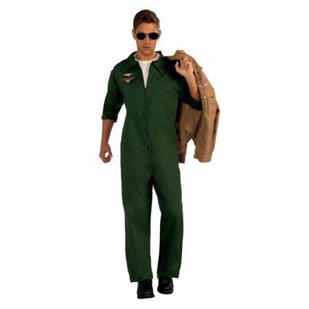 Halloween Aviator Green Jumpsuit Adult Costume - Green Lantern Mens Costume