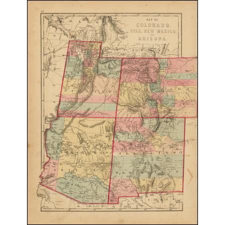 LAMINATED POSTER Map of Colorado, Utah, New Mexico And Arizona POSTER PRINT 24 x