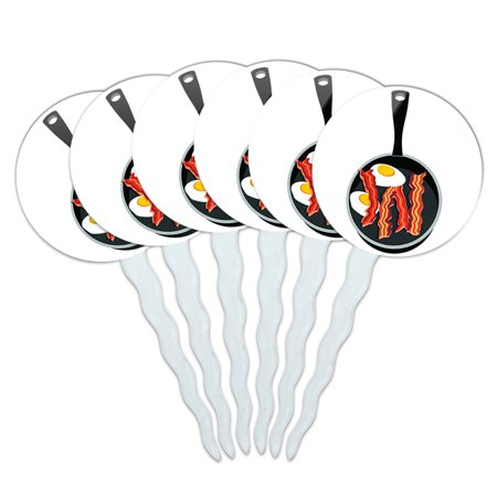 Bacon and Eggs White Breakfast Cupcake Picks Toppers - Set of 6 - Bacon Maple Cupcakes