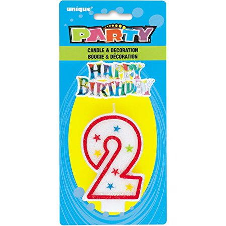 Glittery Number 2 Birthday Candle and Happy Birthday Cake Decoration (Pack of 10) - Number 2 Candle