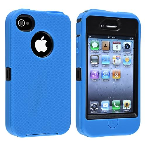 Insten Hybrid Case For Apple iPhone 4 / 4S, Black Hard/ Blue Skin