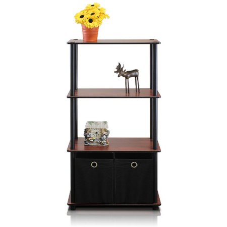 NW889DC/BK Go Green 4-Tier Multipurpose Storage Rack w/Bins, Dark Cherry/Black, Simple stylish design comes in multiple color options, is functional and.., By Furinno Ship from