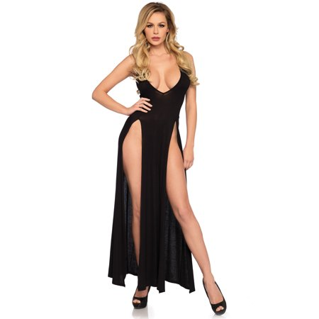 Women's Deep-V Dual Slit Jersey Maxi Long Nightgown Dress, Black, Small Kaleidoscope Jersey Dress