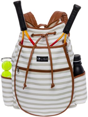 b1aaa203d10c Product Image LISH Women s Down the Line Canvas Stripe Tennis Racquet  Holder Backpack
