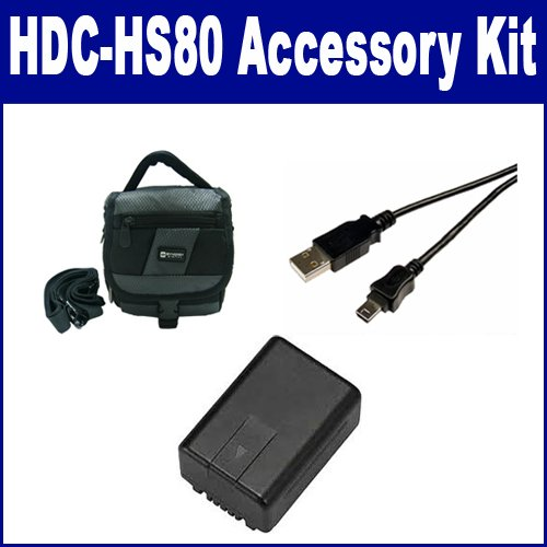 Panasonic HDC-HS80 Camcorder Accessory Kit includes: SDVWVBK180 Battery, USB5PIN USB Cable, SDC-27 Case
