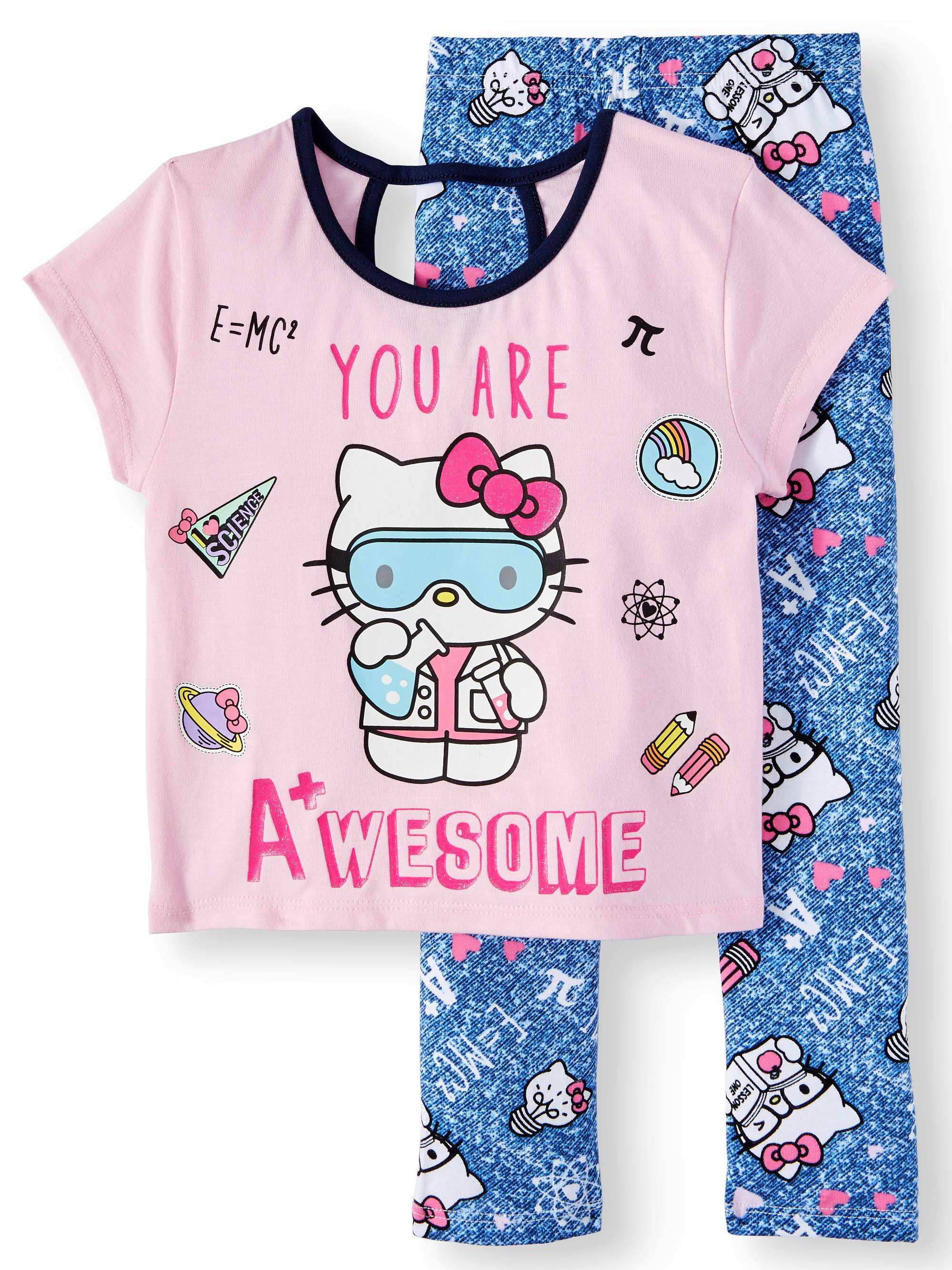 Graphic Tee and Legging 2-Piece Outfit Set (Little Girls)