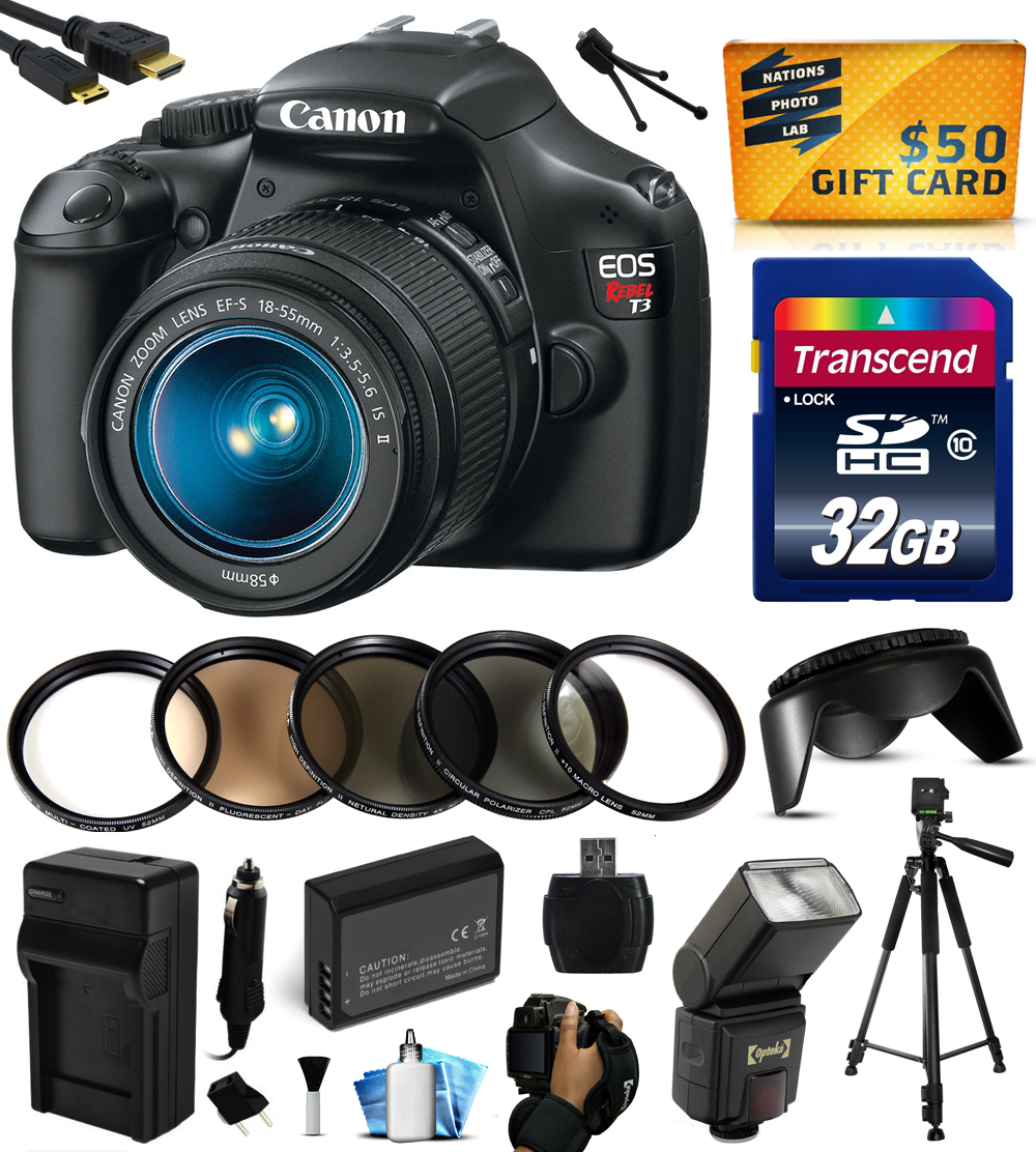 Canon EOS Rebel T3 Digital SLR Camera with EF-S 18-55mm f/3.5-5.6 IS Lens with 32GB Memory + Flash + Battery + Charger + Lens Hood + Grip Strap + HDMI Mini Cable + Cleaning Kit +$50 Gift Card 5157B002