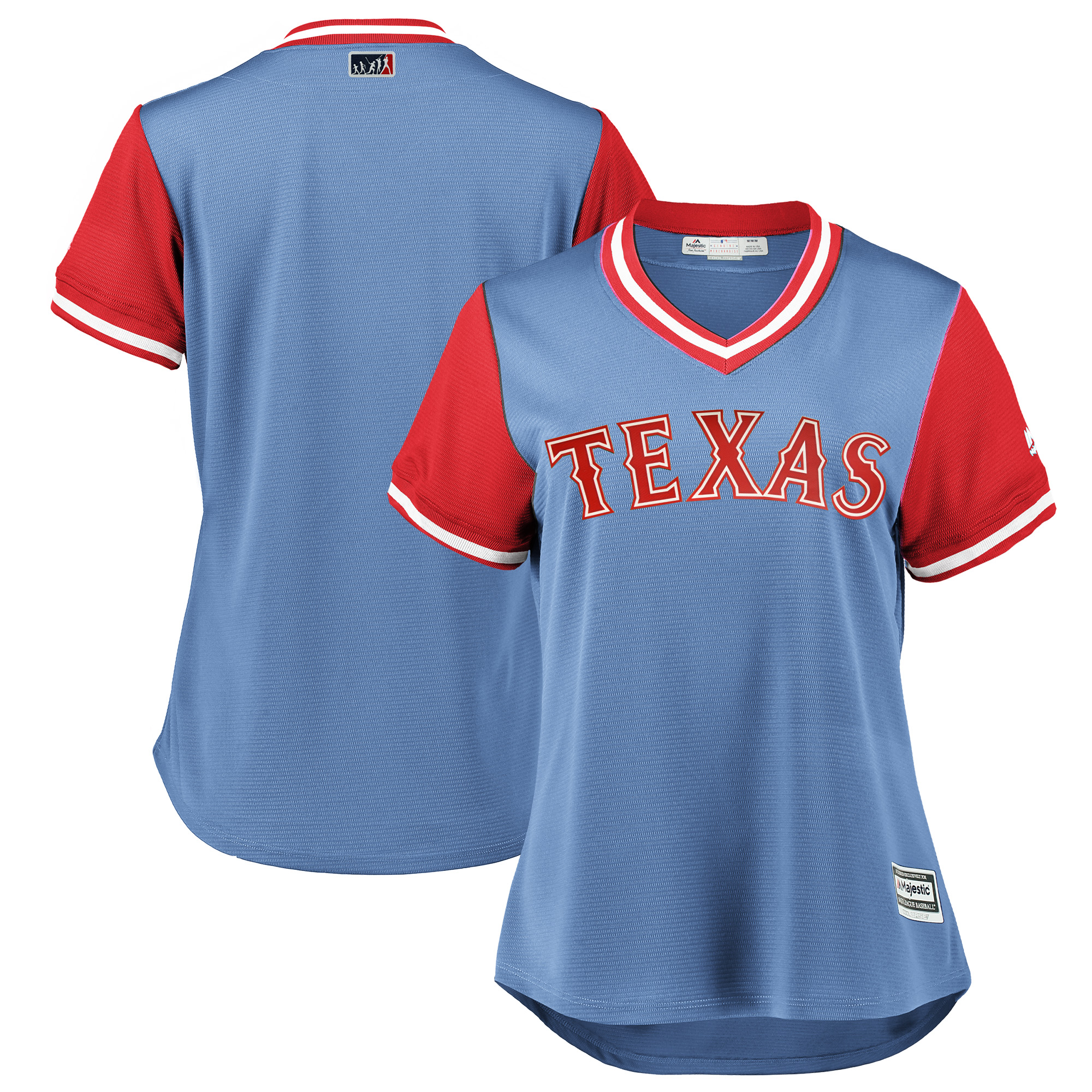 Texas Rangers Majestic Women's 2018 Players' Weekend Team Jersey - Light Blue/Red