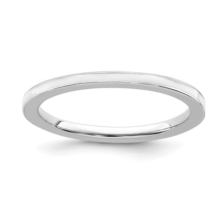 White Enameled Ring Band - 925 Sterling Silver White Enameled 1.5mm Band Ring Size 9.00 Stackable Ed Fine Jewelry Ideal Gifts For Women Gift Set From Heart