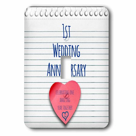 3dRose 1st Wedding Anniversary gift - Paper celebrating 1 year together - first anniversaries - one yr, Double Toggle