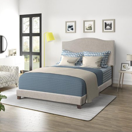 URHOMEPRO Modern Upholstered Platform Bed with Headboard, Heavy Duty Queen Bed Frame with Soild Wood Slat Support for Adults Teens Children, No Box Spring Required, Beige, I7712 ()